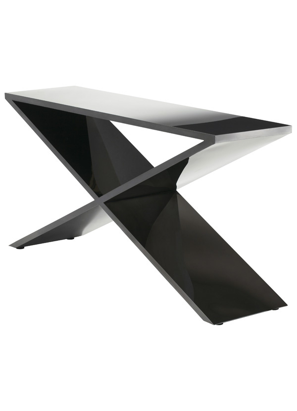 Nuevo Living PRAGUE CONSOLE BLACK TOP METAL STAINLESS STEEL POLISHED