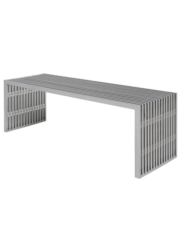 Nuevo Living AMICI - BENCH  SILVER SEAT METAL STAINLESS STEEL BRUSHED
