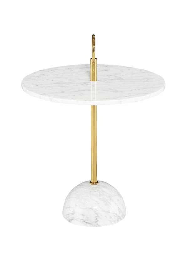 Nuevo Living ROSETA SIDE TABLE - GOLD BASE WHITE TOP STONE MARBLE