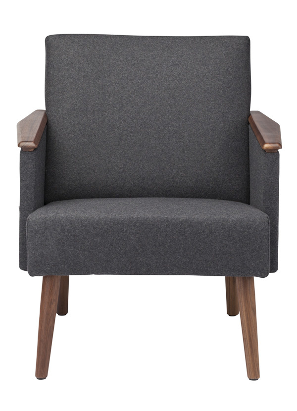 Nuevo Living JASPER  OCCASIONAL CHAIR  GREY WOOL MATTE WALNUT LEGS
