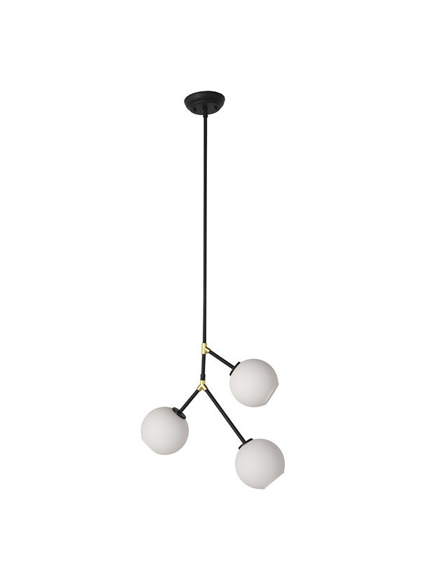 Nuevo Living ATOM 3  PENDANT LIGHT WHITE SHADE BLACK FIXTURE