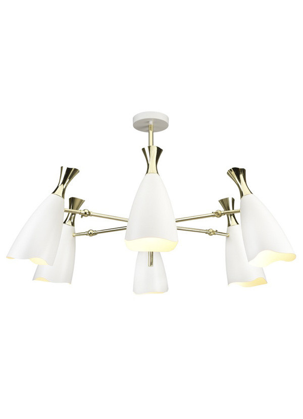 Nuevo Living CELLA PENDANT LIGHTING WHITE SHADE STEEL  GOLD BODY  STEEL POLISHED