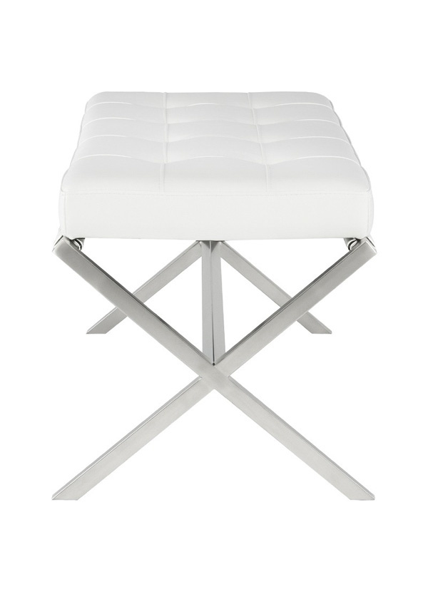 Nuevo Living AUGUSTE BENCH  WHITE SEAT NAUGAHYDE BRUSHED STAINLESS STEEL BRUSHED