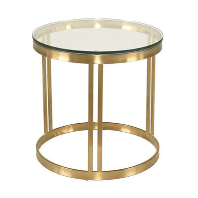 Nuevo Living Nicola Side Table Clear Glass Gold Base