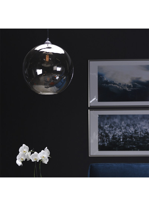 Nuevo Living MARSHALL PENDANT LIGHTING  GREY SHADE GLASS CHROME STEEL  FIXTURE