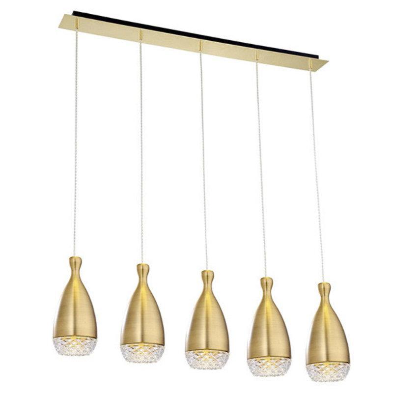 Nuevo Living Citrine 5 Pendant Light Antique Brass