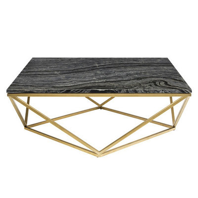 Nuevo Living Jasmine Coffee Table Black Marble Top w/ Gold Brushed Stainless Steel Base