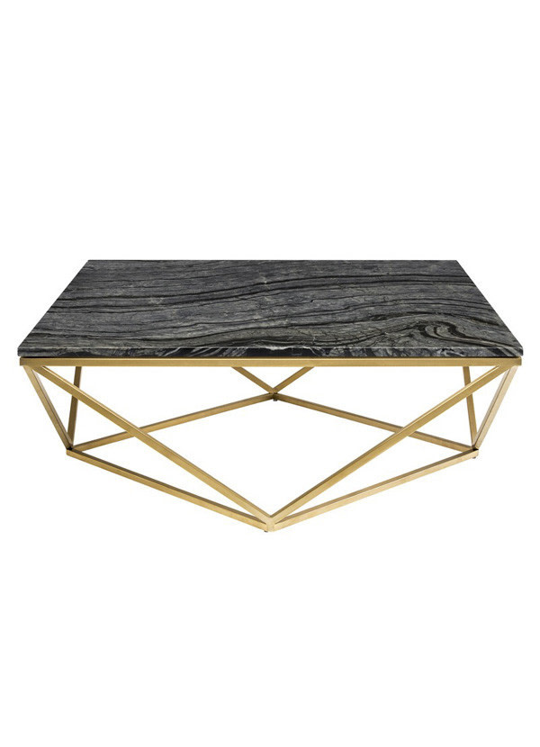 Nuevo Living JASMINE COFFEE TABLE BLACK TOP STONE MARBLE POLISHED GOLD BRUSHED STAINLESS STEEL