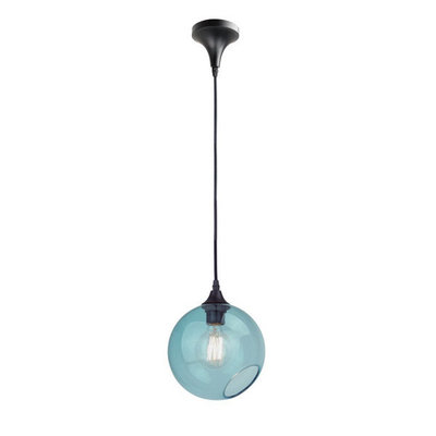 Nuevo Living Sphere Pendant Light Blue Glass
