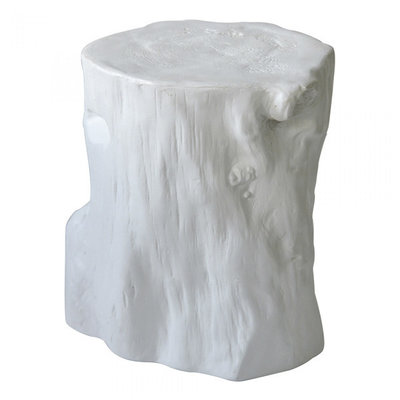 Moe's Home Collection Log Stool Antique White