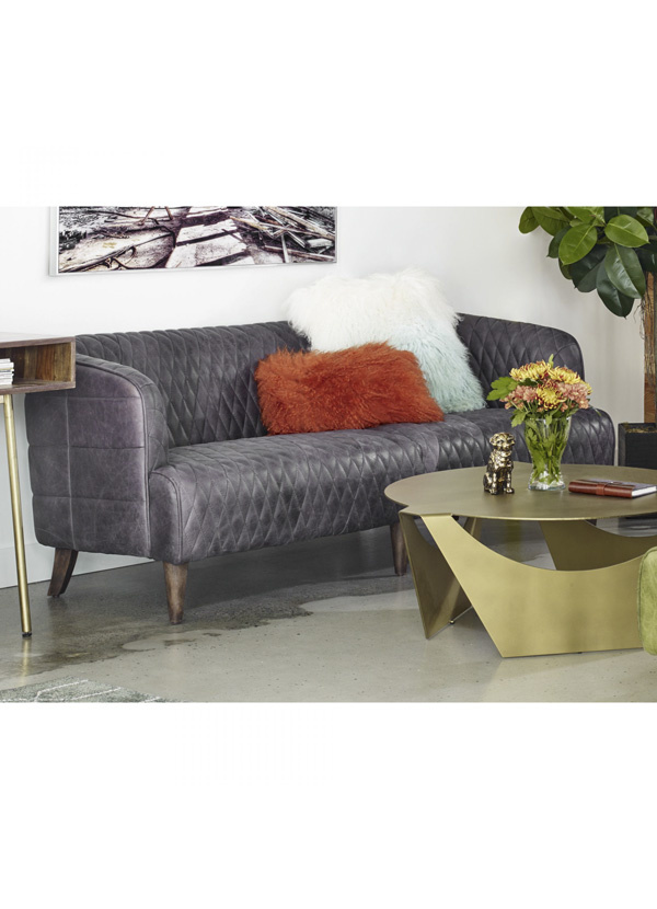 Moes MAGDELAN TUFTED LEATHER SOFA ANTIQUE EBONY