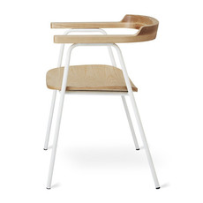 Gus Modern Principal Chair White Powder Coat Ash Blonde