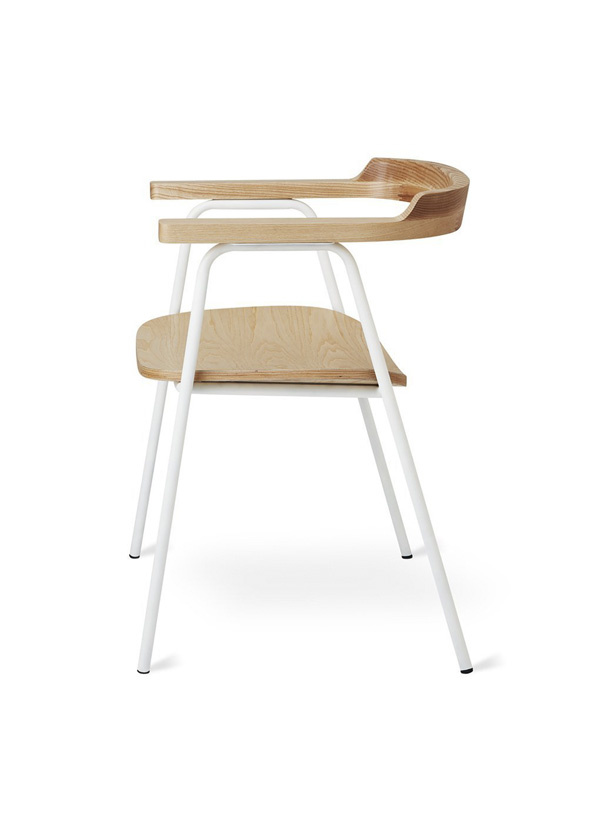 Gus Modern Principal Chair White Powder Coat Ash Blonde