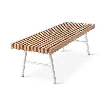 Gus Modern Transit Bench White Powder Coat Ash Natural