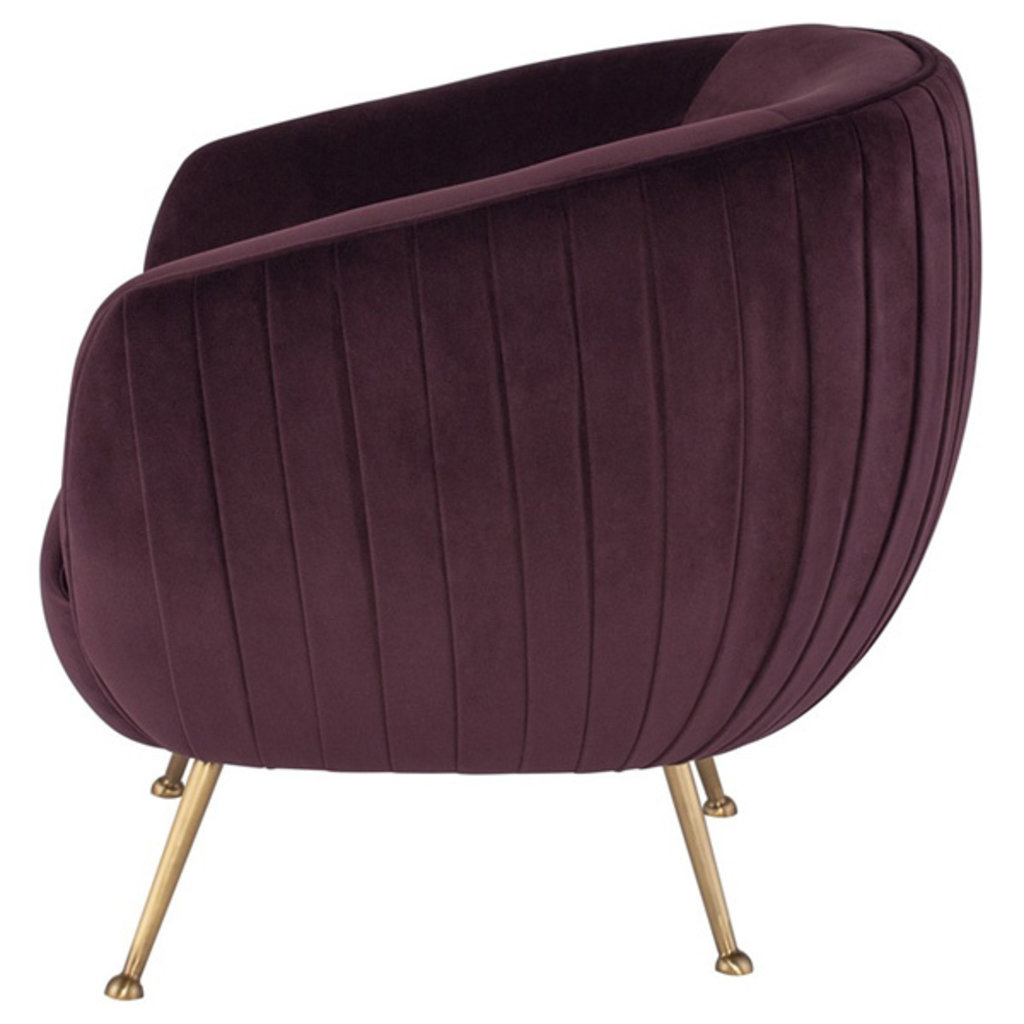 Nuevo Living Sofia Occasional Chair Mulberry Velvet Gold Legs