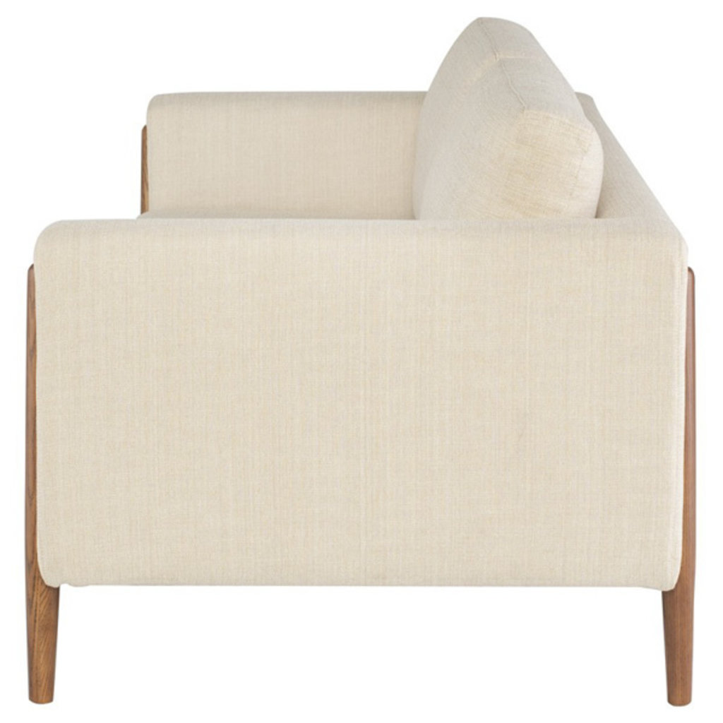 Nuevo Living Steen Sofa Sand Fabric with Walnut