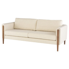 Nuevo Living Steen Sofa Sand Fabric with Walnut