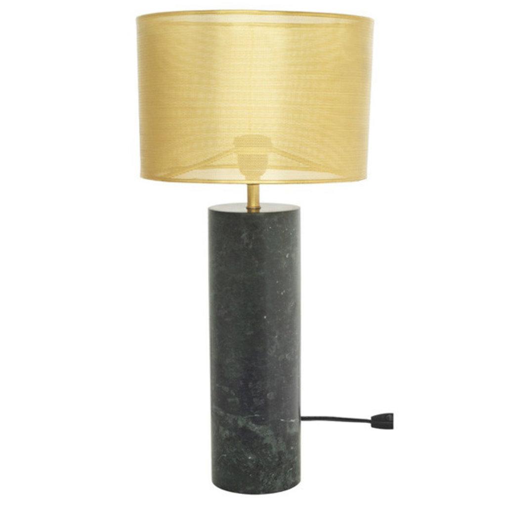 Nuevo Living Cyrine Table Lamp Brass Shade Green Marble Base