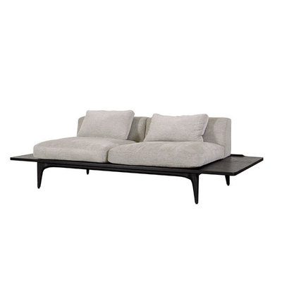 Nuevo Living Salk Sofa Beige/Gray Fabric with Black Concrete Legs