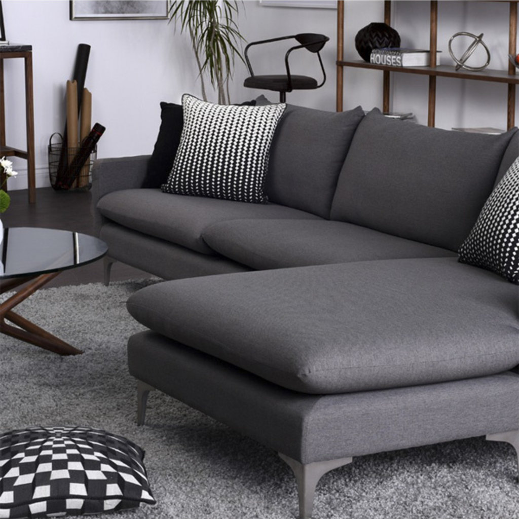 Nuevo Living Anders Sectional Slate Gray with Silver Legs