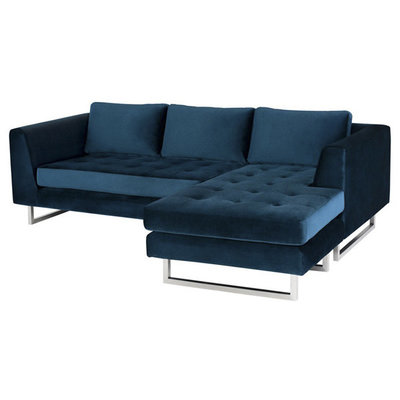 Nuevo Living Matthew Sectional in Midnight Blue Velvet
