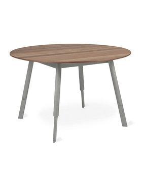 Gus Modern Bracket Dining Table Round Grey Base Walnut