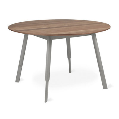 Gus Modern Bracket Dining Table Round Grey Base Walnut