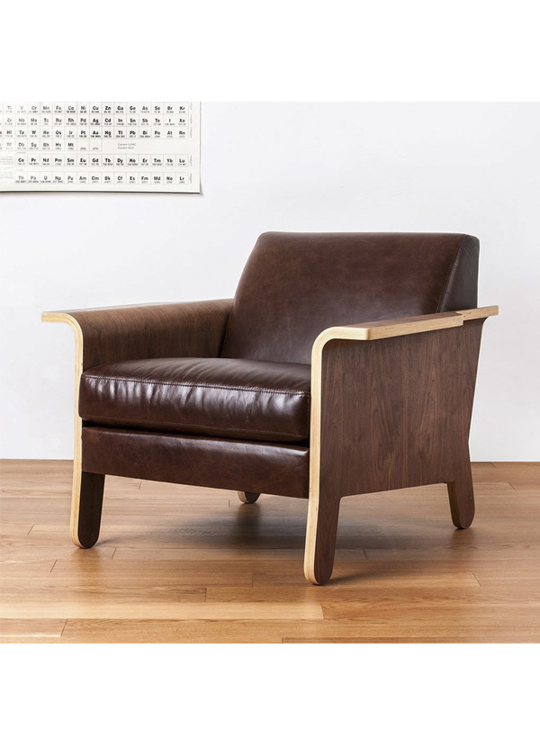 Gus Modern Lodge Chair Saddle Brown Leather