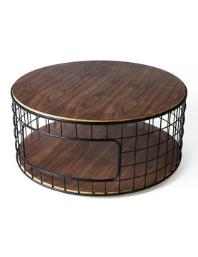 Gus Modern Wireframe Coffee Table Black Powder Coat Walnut