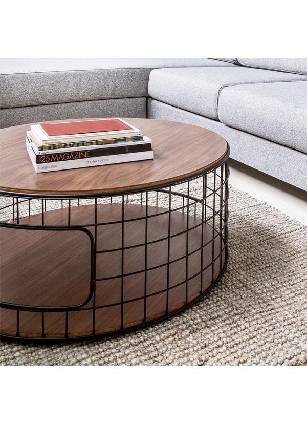 Gus Modern Wireframe Coffee Table Black Powder Coat Walnut