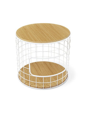 Gus Modern Wireframe End Table White Powder Coat Oak Natural
