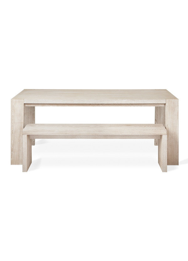 Gus Modern Plank Dining Table White Wash