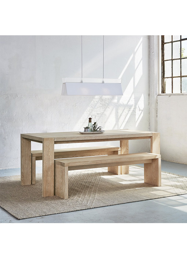 Gus Modern Plank Dining Bench White Wash