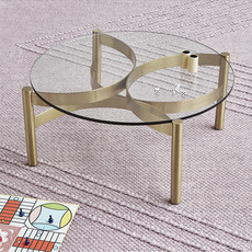 "Gus Modern Compass Glass Coffee Table 30"" Champagne"