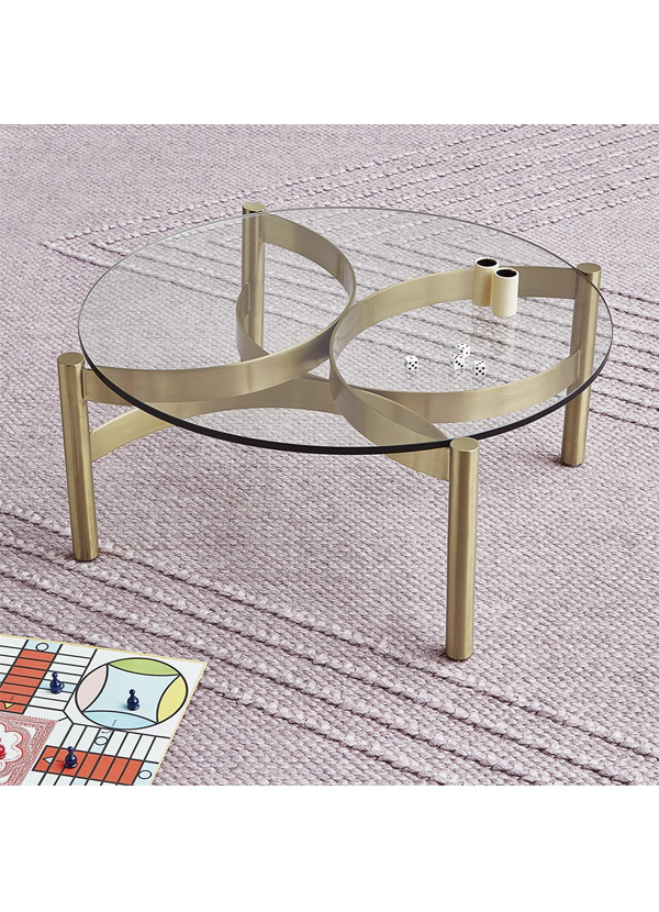 """Gus Modern Compass Glass Coffee Table 30"""" Champagne"""