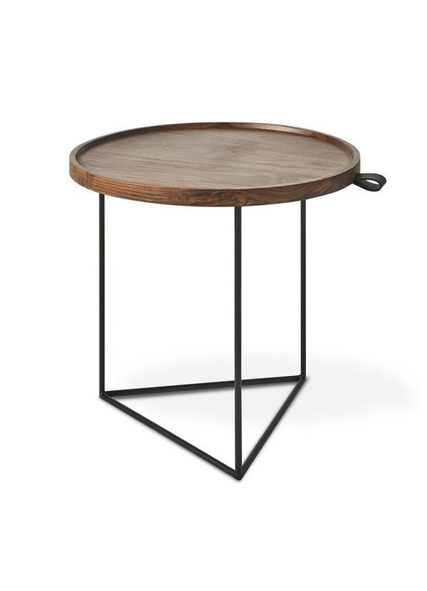 Gus Modern Porter End Table Black Powdercoat Walnut