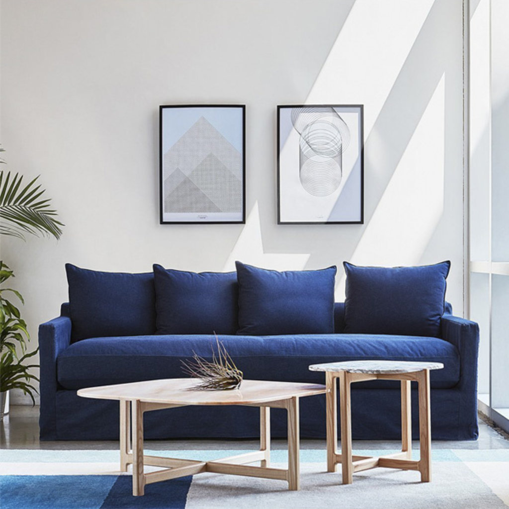 Gus Modern Carmel Sofa Washed Denim Indigo
