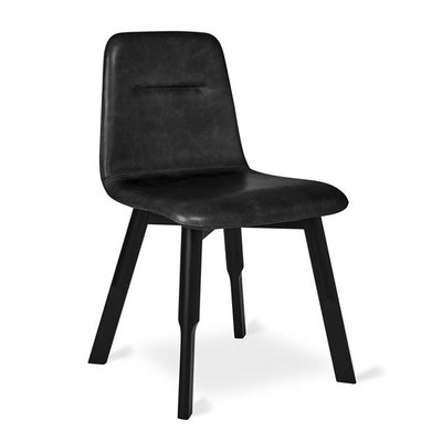 Gus Modern Bracket Chair Saddle Black Leather Beech Black