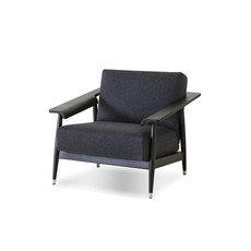 Mobital LOUNGE Chair WAKEFIELD grey fabric, birch black frame