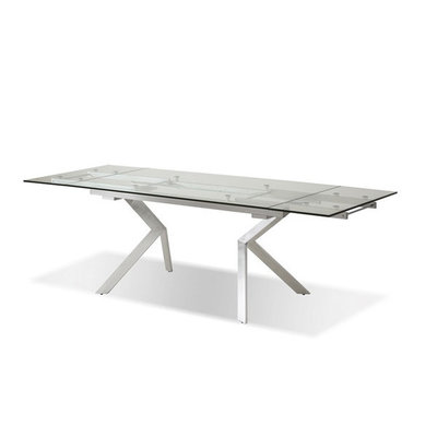 Mobital Dining Table ext. ATWOOD clear glass top/polished stainless st