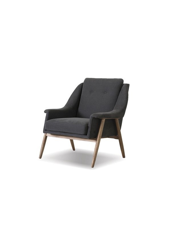 Mobital LOUNGE CHAIR PARRY dark grey fabric, ash stained light waln.