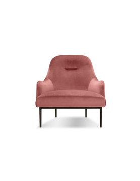 Mobital LOUNGE Chair SWOON blush velvet, black PC legs
