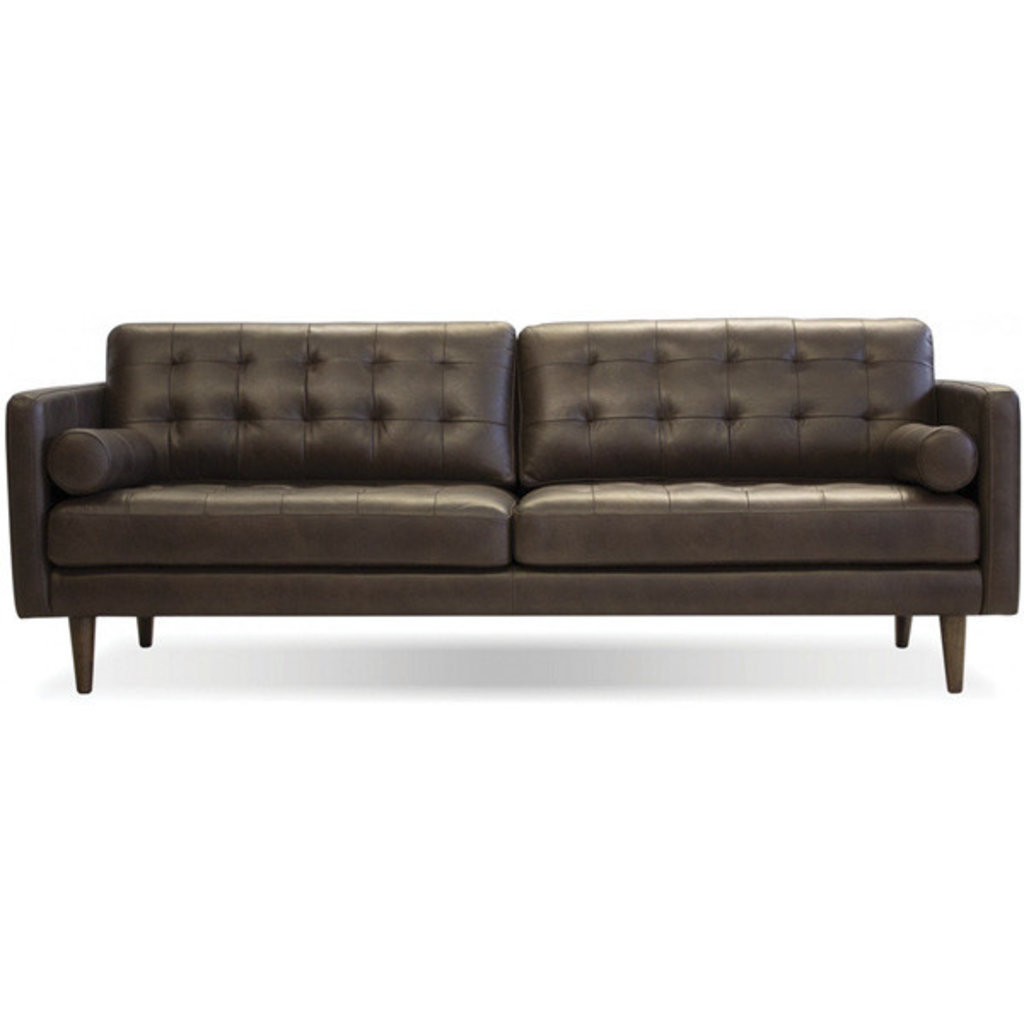 Mobital Baldwin Sofa in Vintage Chocolate /Wood Legs Teak Oak