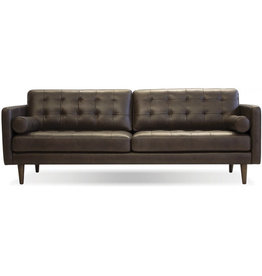 Mobital Baldwin Sofa in Vintage Chocolate /Wood Legs Teak Oak