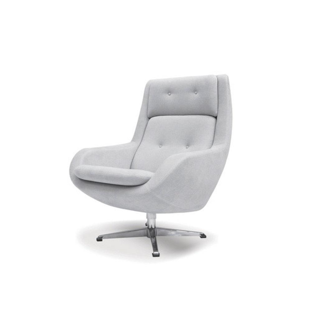 Mobital SWIVEL LOUNGE Chair LARS light grey fabric/cast aluminum bas