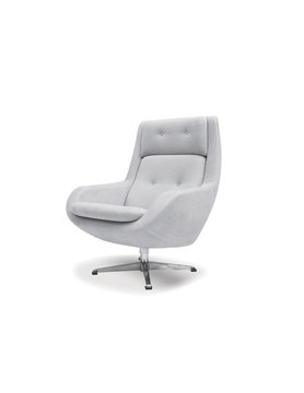 Mobital SWIVEL LOUNGE Chair LARS light grey fabric/cast aluminum bas