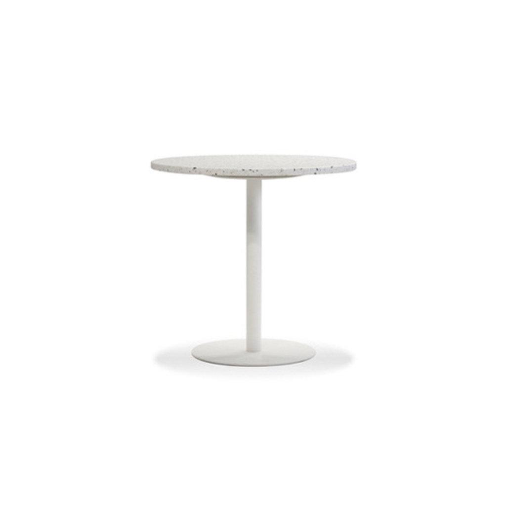 """Mobital Razor Dining Table 23.5"""" White Terrazzo Marble w/ White Base"""