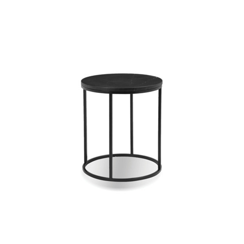 Mobital Onix Round End Table Black Marble Top