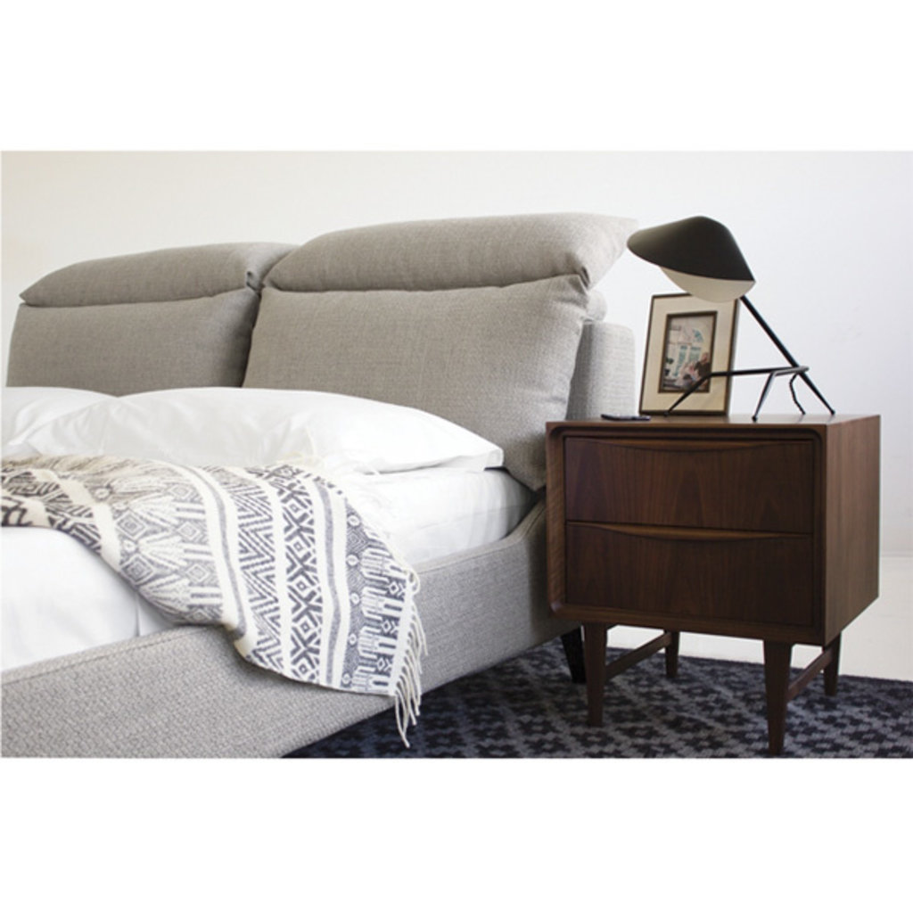 Mobital Chillout Queen Bed Stone Bouclé with Black Legs