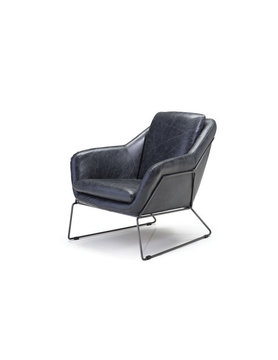 Mobital ARMCHAIR JASPER antique black leather, light black iron fram
